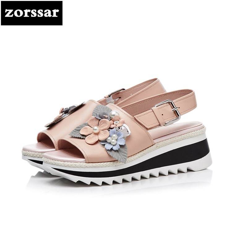 {Zorssar} 2018 New Fashion flowers Genuine Leather Casual Women Wedges Sandals Summer Womens Shoes Open toe platform Sandals nemaone new 2017 women sandals summer style shoes woman platform sandals women casual open toe wedges sandals women shoes
