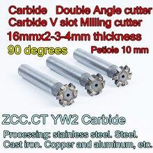 16mmx2 3 4mm 두께 x 90도 잎자루 10mm ZCC. CT YW2 초경 더블 앵글 커터 가공: 스테인레스 스틸. 스틸 등.