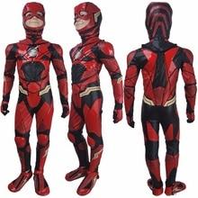 Kids boys The Flash Barry Allen cosplay halloween costume full set Justice League 2017 superhero Flash