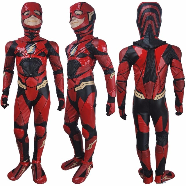 0256d8356be Kids boys The Flash Barry Allen cosplay halloween costume full set Justice  League 2017 superhero Flash outfit xmas gift toys