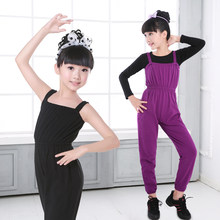Children Casual Loose Bib Pants Black Purple Training Dance Wear Girls Bodysuit Cotton Soft Kids Ballet Gymnastic Clothes(China)