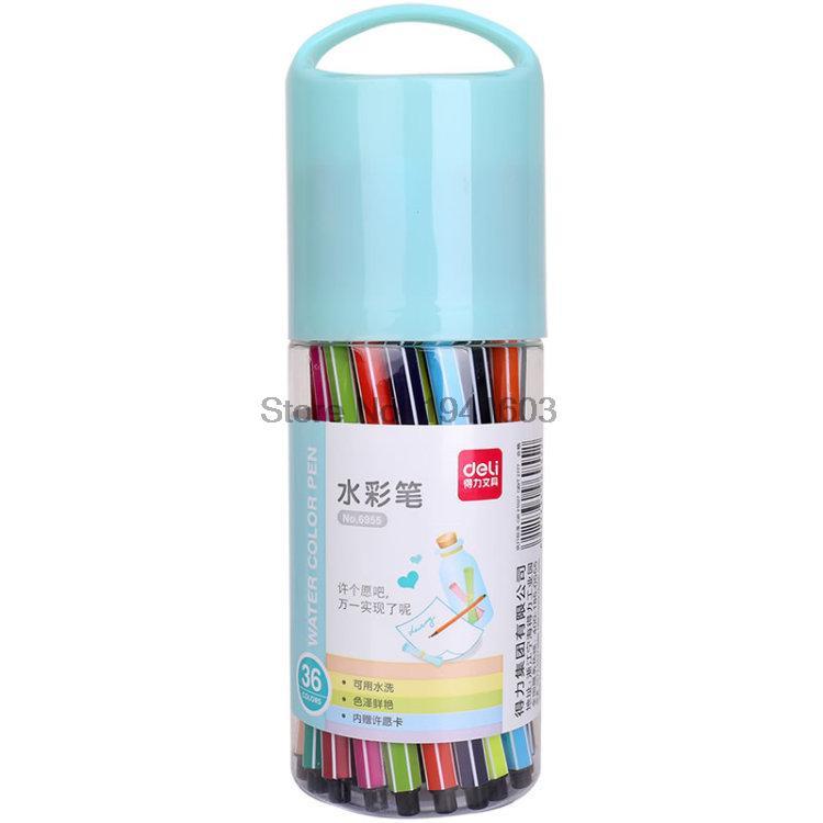 2017 One Barrel (36 Colors)  Deli 6955 Child Colorful Water Color Pen Brush Marker Highlighter School Stationery / barrel deli s557 marker pen