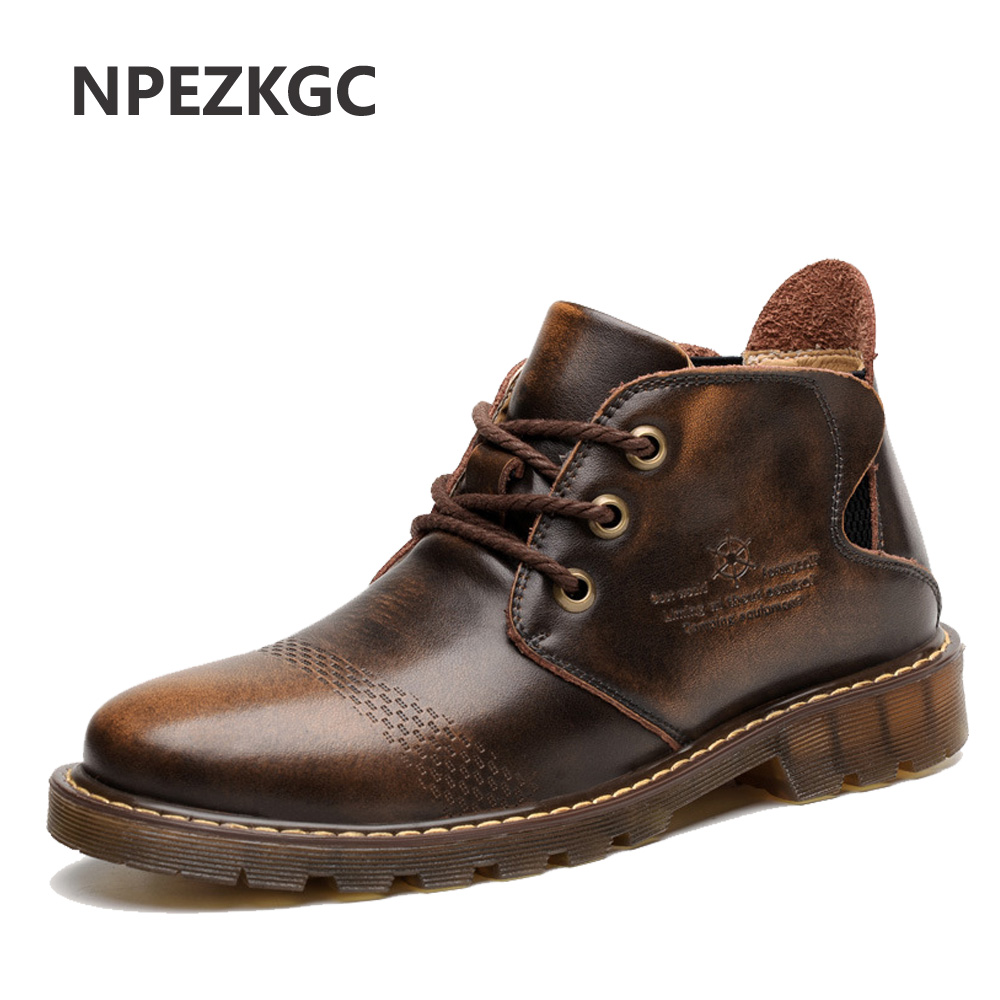 NPEZKGC NEW Men's Boots Casual Martin Genuine Leather Boots Brown/Red Ankle Lace-up With Fur Autumn/Winter warm Men shoes цена