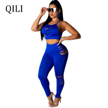 QILI New Arrivals Women Jumpsuits Two Piece Set Solid Hole Jumpsuit Sexy Short Top+Pants Cut Out Skinny Long Pants