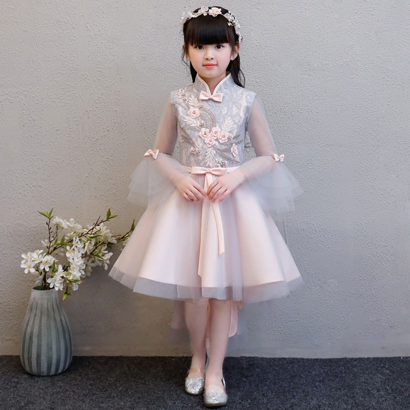 Kids Evening Birthday Party Dress Children Girls Luxury Elegant Flowers Princess Bow Dress Lace Ball Gown Mesh Tailing Dress E93 цены онлайн