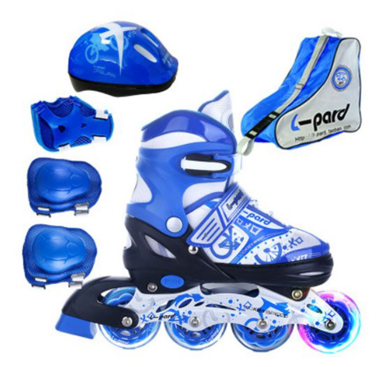 Hot!Children Roller Skating Shoes S/M/L Roller Skate Shoes Adjustable Road Sliding/Slalom Inline Skates Shoes+Protective+Bag