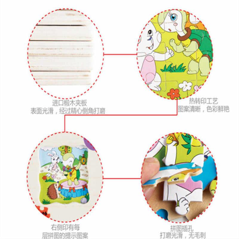 Мультфильм головоломки с изображением животных сказки Многослойные история головоломки детские развивающие деревянные игрушки montessori познание Деревянный головоломки подарки
