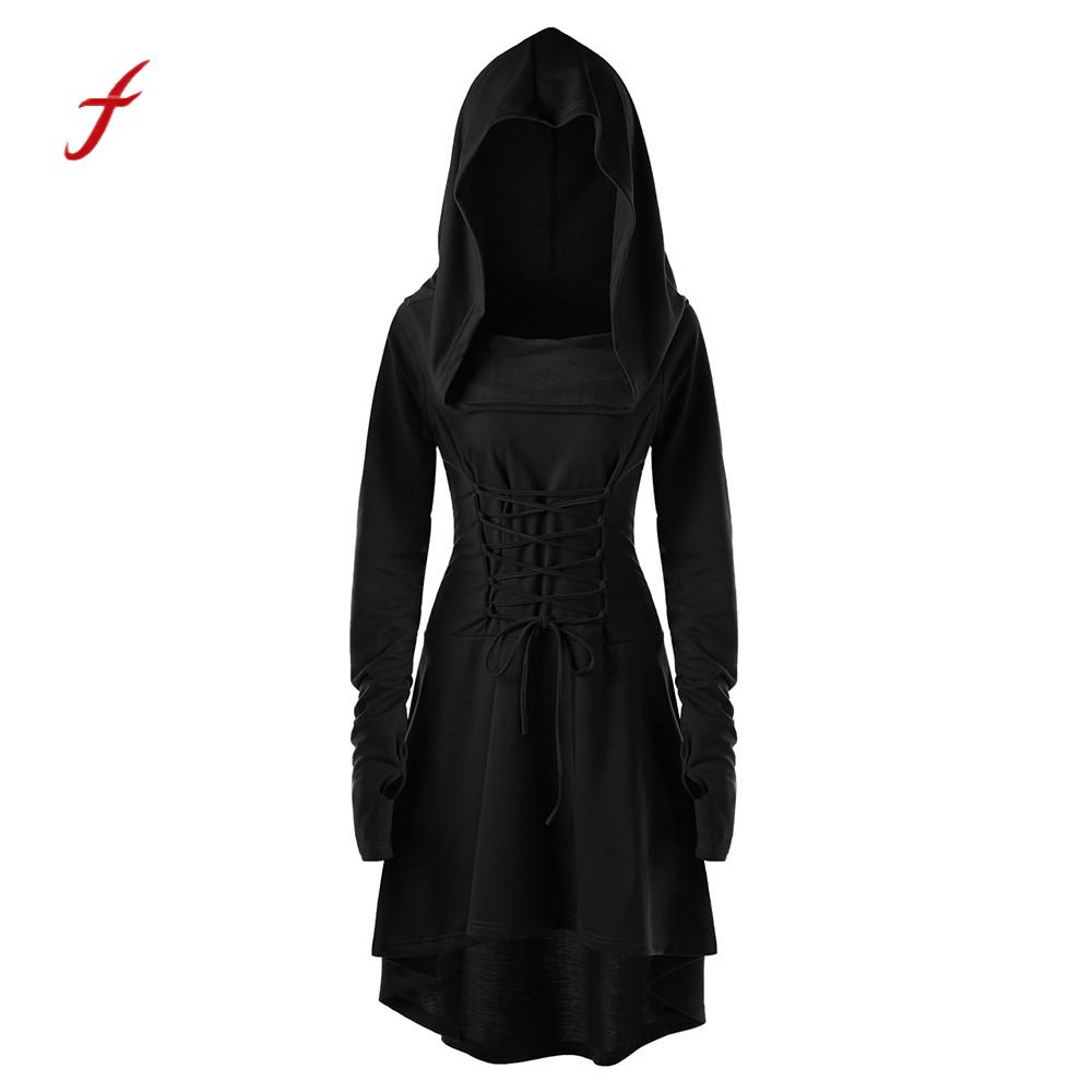 Women Costumes Dress Lace Up Festival performance Bandage Hooded Dress Vintage Pullover Solid Hoodies Dress Cloak /PT