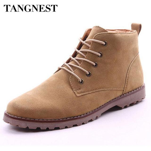 Tangnest Flock Botas de Cuero de Los Hombres 2017 de Moda de Estilo Británico Botines Hombres Otoño de Encaje Hasta Zapatos Casuales Tamaño 39-44 XMX097