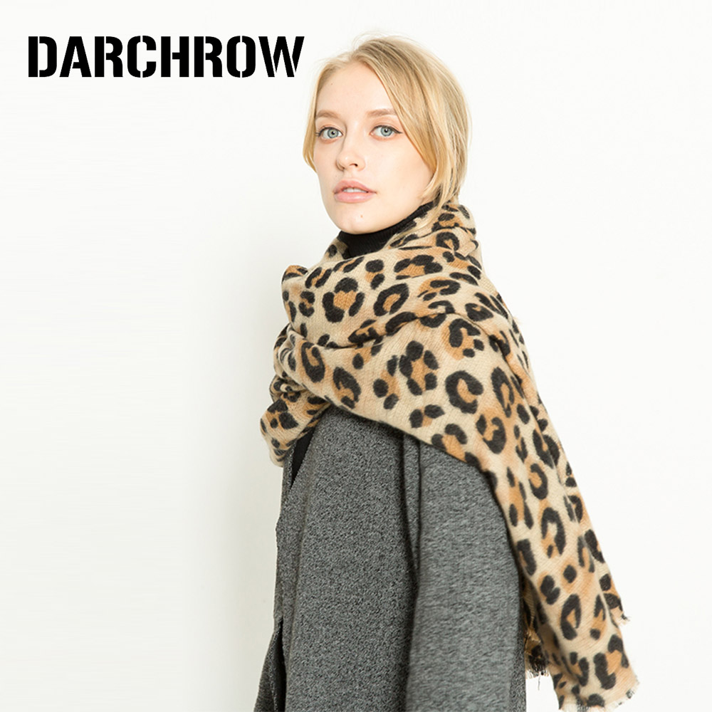 Image 3 - DARCHROW Leopard Printed Scarf Women Winter Blanket Scarf Warm Soft Cashmere Thicken Shawls Scarves for Women Lady-in Women's Scarves from Apparel Accessories