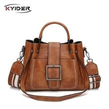 KYIDER Women Handbag Ladies Soft Pu Leather Bag Pin Type Solid Fashion Shoulder Sac Metal Handle Casual Tote