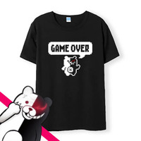 Dangan Ronpa T Shirt Men Cotton T Shirts DanganRonpa Game Over Short Sleeve Tops Cartoon Komaeda