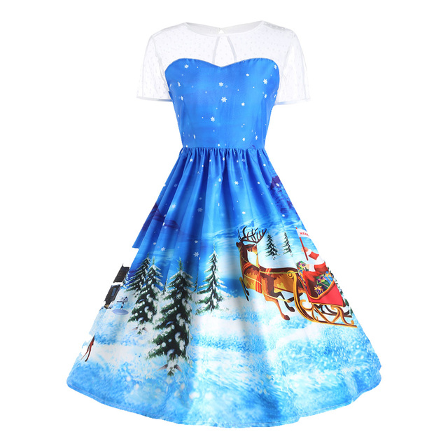 Gamiss Father Christmas Sleigh Gown Dress Women Short Sleeve Vintage ...