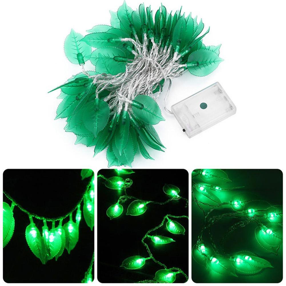 1.2/2.5/5m Led Leaves Leaf Fairy String Light Battery Operated Xmas Party Decor Fast Color