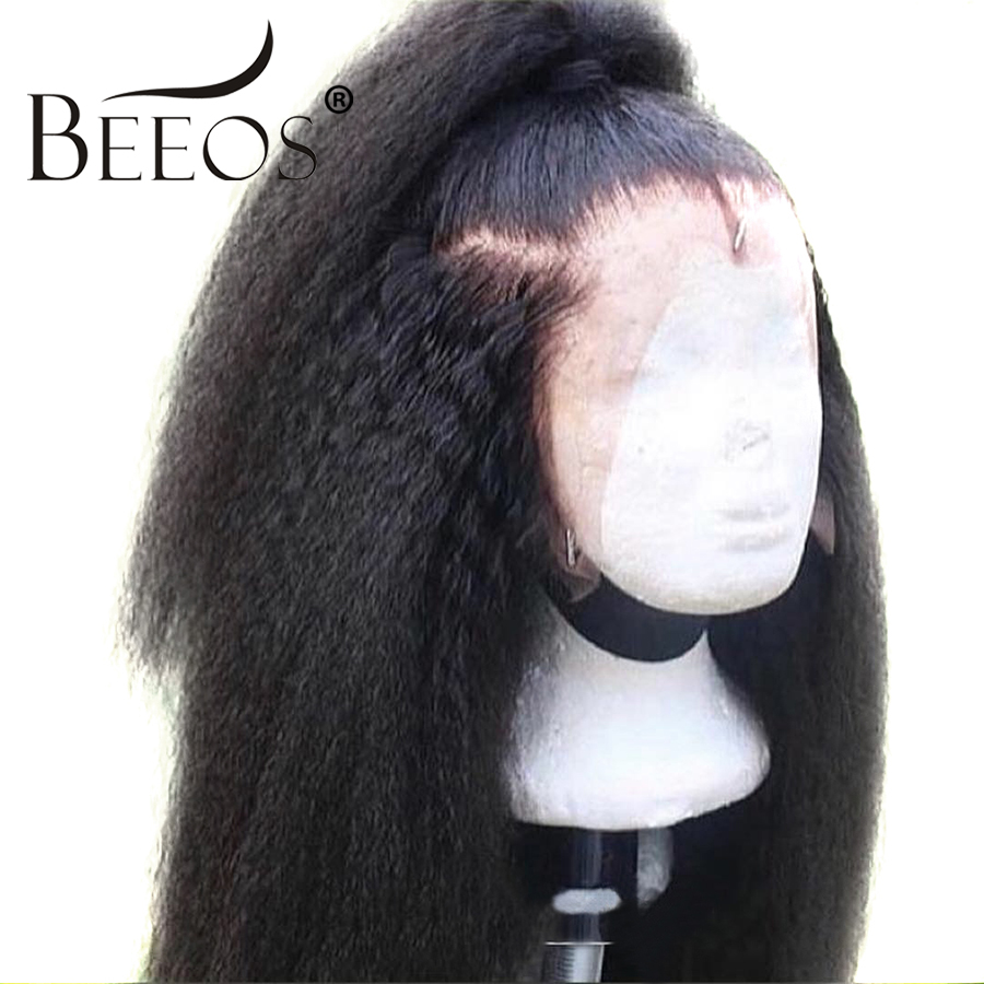 Beeos Kinky Straight Wig Brazilian Remy 360 Lace Front Human Hair Wigs For Women With Baby
