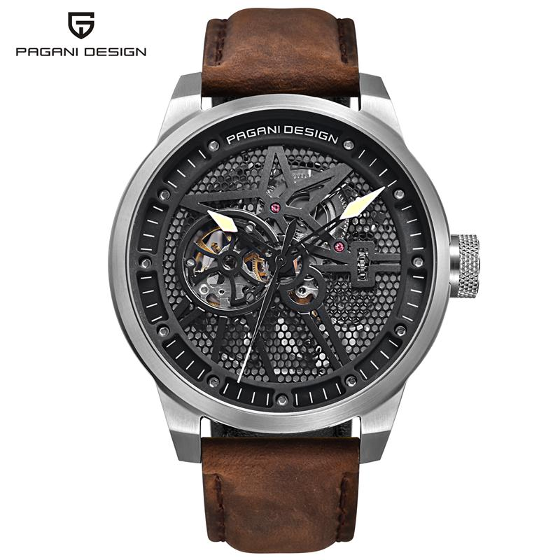 PAGANI DESIGN Men's Classic Skeleton Automatic Mechanical Watches Leather Band Hollow Wristwatches Reloj Hombre Man PD-1625 reloj 2017 new design hot sale luxury man s bronze leather band self winding automatic mechanical wrist free shipping 17jan9