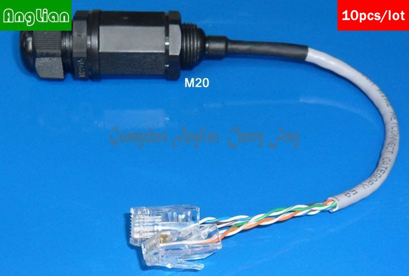RJ45 M20 Double crystal head connector, with 20cm cable, Telecom Communication Interface, Monitoring system Waterproof Connector