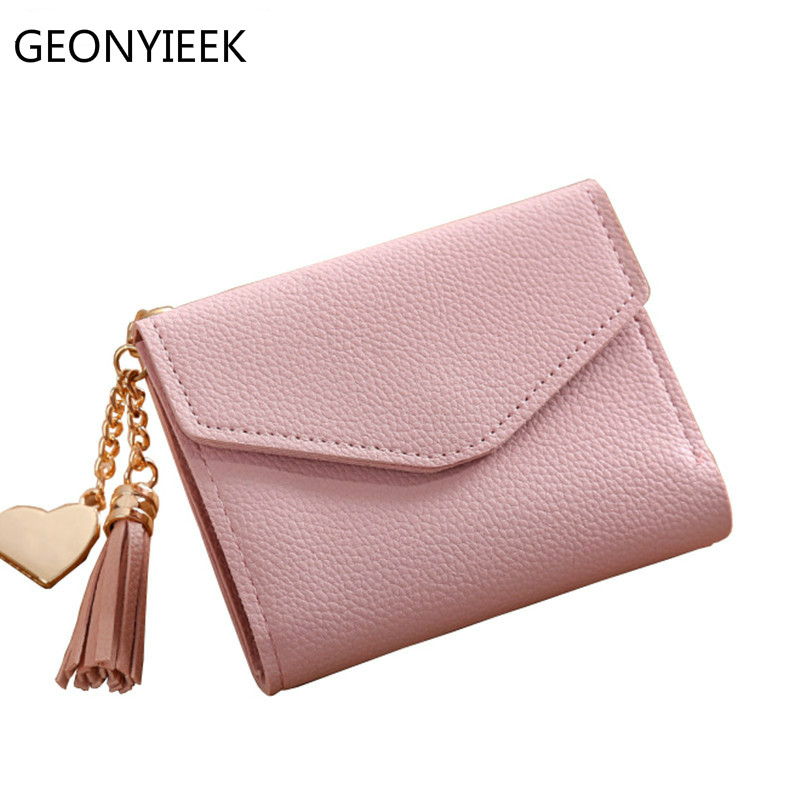 Fashion Solid Tassel Women Wallet For Credit Cards Small Luxury Brand Leather Short Womens Wallets And Purses Zipper&hasp