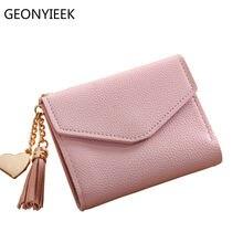 cf207f1a14ff5 2018 moda katı püskül kadın cüzdan kredi kartları için küçük lüks marka deri  kısa bayan cüzdanlar ve çantalar fermuar & hasp