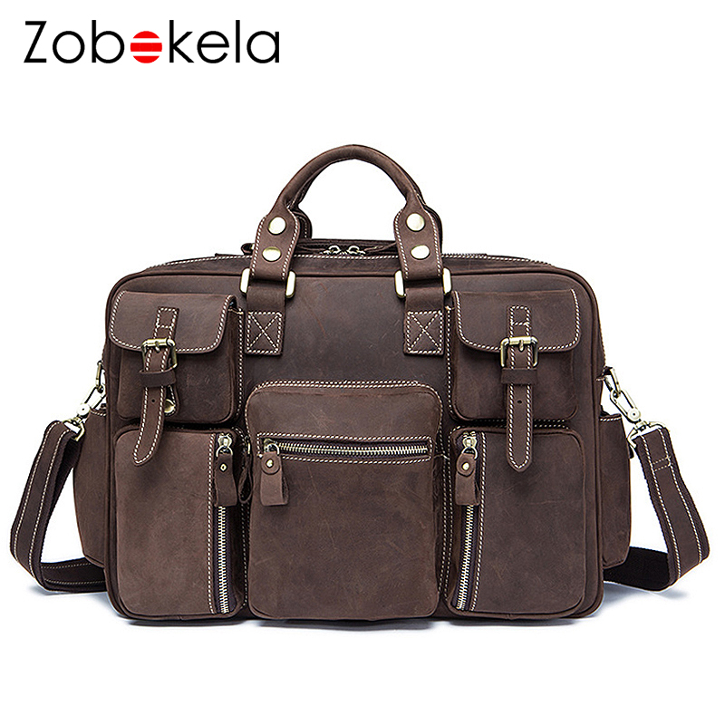 Zobokela Men Handbag Genuine Leather Bags Men Briefcases Business Male Messenger Bag Laptop Leather Bags For Men Crossbody Bag augus 100% genuine leather laptop bag fashional and classic crossbody bags leather for men large capacity leather bag 7185a
