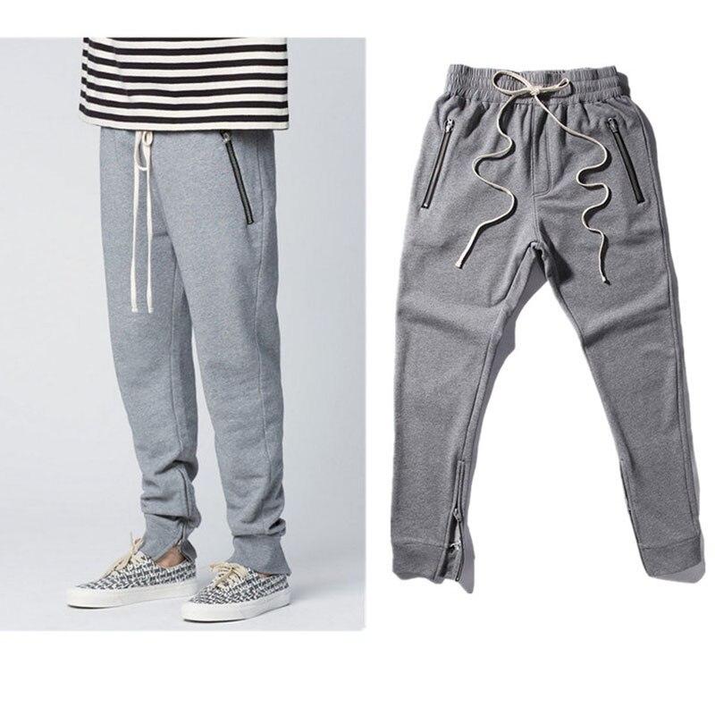 2017 Migliore Versione Di Dio NEBBIA Justin Bieber lato zipper casual pantaloni sportivi da uomo hiphop pantaloni jogger cotone Parigi Kanye ovest