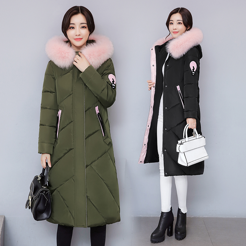 2017 Free Shipping New Autumn Winter Long Down Cotton Female Knee Thin Coat Big Fur Collar Women Work Wear Fashion Coats 2017 free shipping new autumn winter long down big fur coat padded slim women fashion high street coats