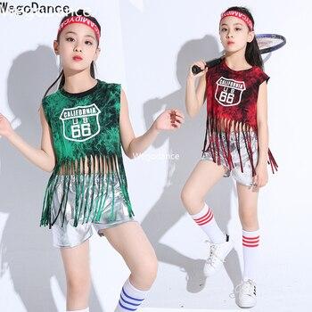Nuevo traje de disfraces de porristas Hip hop con flecos para niñas y actuaciones de baile de Jazz para niños 90-160cm de altura