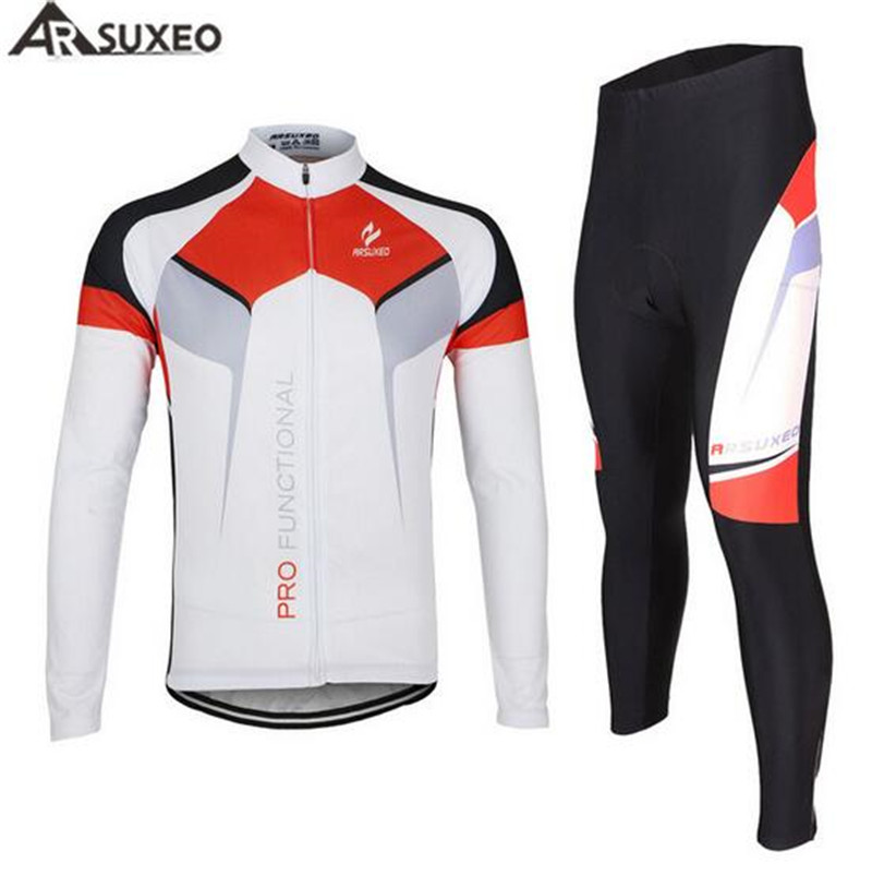 ARSUXEO Bike Bicycle Cycling Long Sleeves Jersey + Tights Pants Sets 3D Gel Paded Men's Outdoor Sports Breathable Clothing arsuxeo cycling short pants