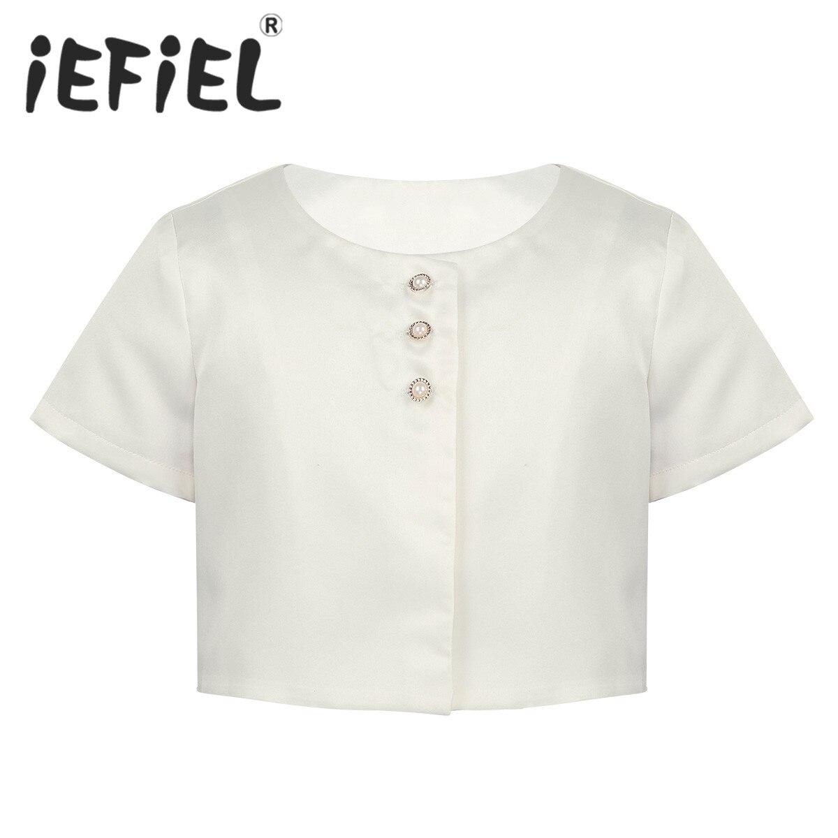 Kids Girls Satin Short Sleeve Round Neck Faux Pearl Buttons Closure Bolero Short Jacket Shrug Party Dress Children Ballet Wrap