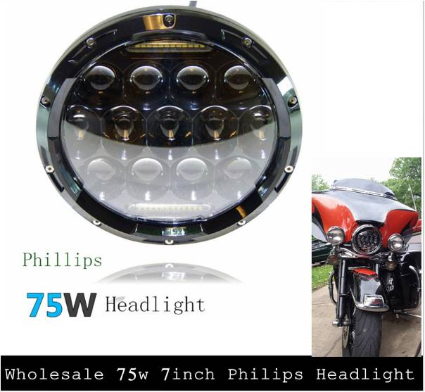 1 PCS round 7inch hi lo beam 75w 7 led headlight for Harley Davidson 7inch 75w motorcycle black hi lo beam projector daymaker led chips headlight for harley