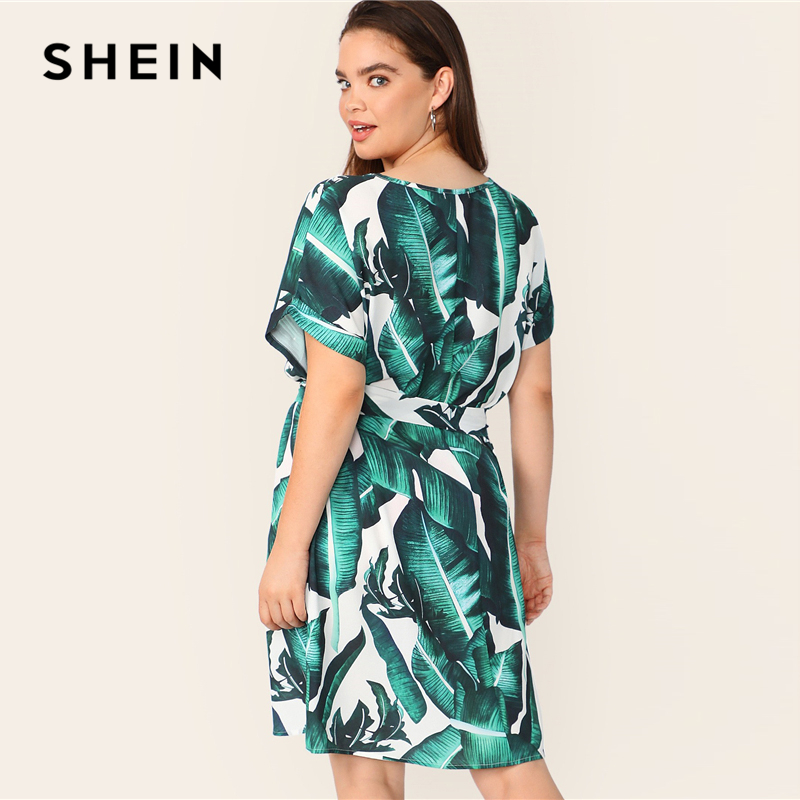 e82b521cc9 Aliexpress.com : Buy SHEIN Plus V Neck Tropical Print Belted Dress Women  Summer 2019 Tunic Boho Straight With Belt Plus Size Short Sleeve Dress from  ...