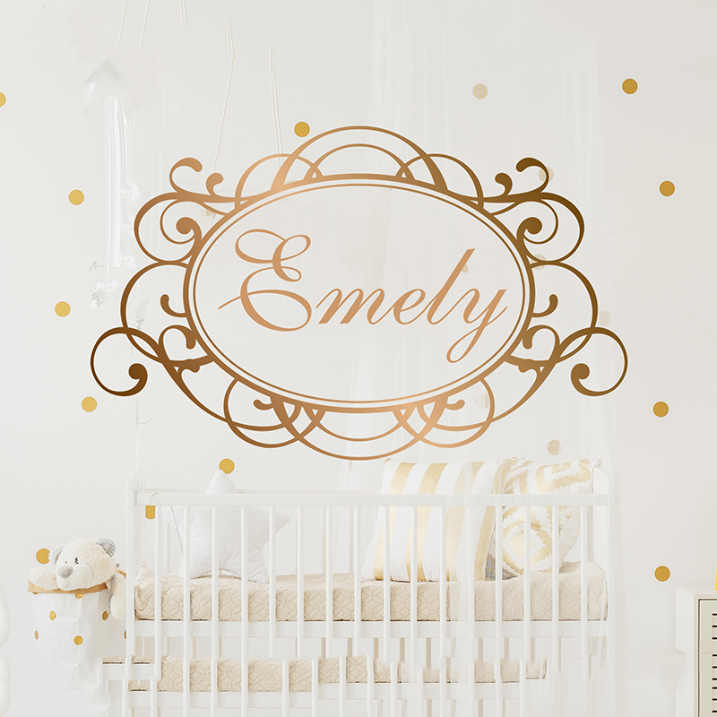 Name, Wall Decal, Personalized Name, Decor Girls Nursery Decal ,Girls Bedroom Decor, Name Decal,Mirror Gold Name .Letters A1-058