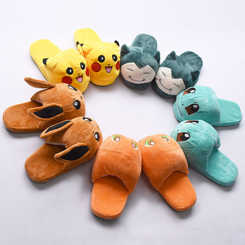 Kawaii Shoes Adult Women Girl Cotton Slippers Cartoon Anime Pokemon Pikaqiu Eevee Slippers Cute Winter Festival Kigurumi Party