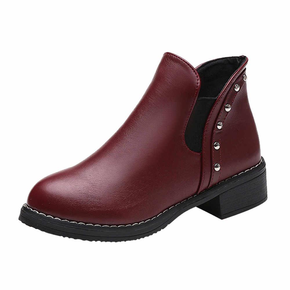Perçin yarım çizmeler kadınlar için rahat düz Martain çizmeler sonbahar kış deri yuvarlak ayak kış ayakkabı kadın Botines Mujer 2019