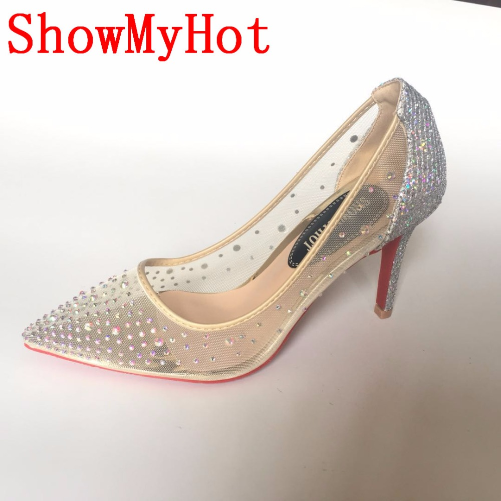 ShowMyHot blingbling women shoes high heels stilettos red glitter shoes Pointed toe sexy high heel pumps
