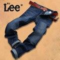 Marca de moda Jeans Reta Calças de Brim Dos Homens Denim Azul Profundo Calças Jeans Outono Calças Jeans Tamanho de Algodão Fino 38 40 Calças De Brim Homme