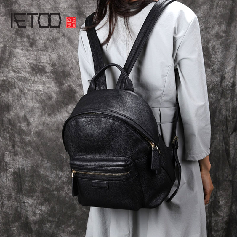 AETOO New backpack female original handmade cowhide leather soft leather Korean version of the tide wild leather bag backpack aetoo original new backpack female cowhide leather casual retro art wild female backpack female bag personality