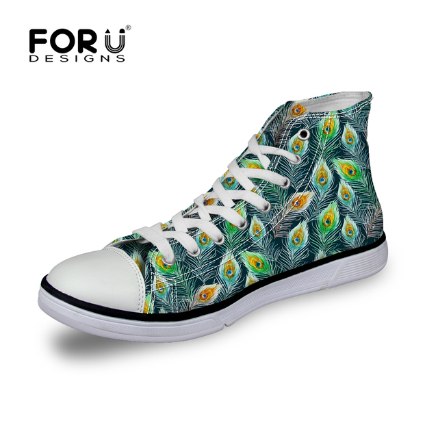 Casual Women's Canvas Shoes High Top Lace-up Flats Shoes Autumn Winter Daily Walking Shoes Peapock Print Shoes for Female Girls