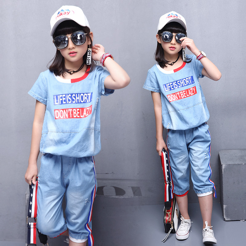 Feiluo 2019 Baby girls Summer Clothes Jeans Set T-Shirt + Short pants set kids Clothing TTX84 girl clothes