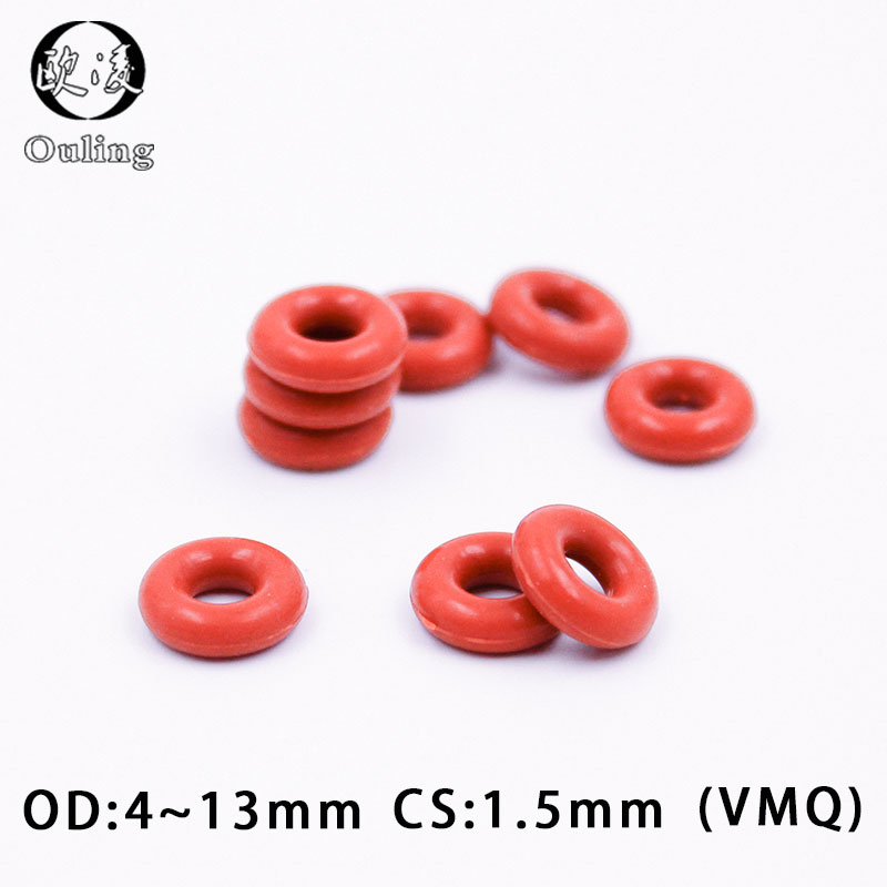 10PCS/lot Red Silicon Ring Silicone O ring 1.5mm Thickness OD4/5/6/7/8/9/10/11/12/13mm Rubber O-Ring Seal Gasket Oring Washer