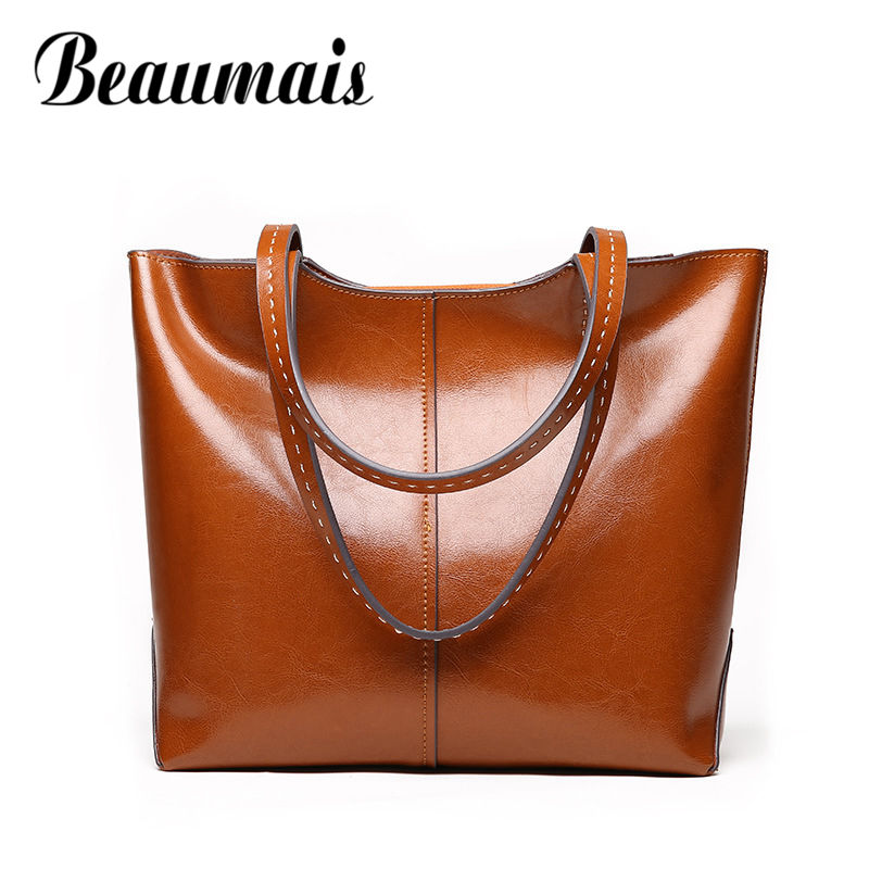 Beaumais Genuine Leather Bags Ladies Large Capacity Women Leather Handbags Luxury Brand Bags  Soft Shoulder Bag For Girl DF0176