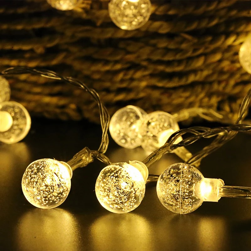 BTgeuse LED Crystal Bubble Ball String Lamp Light Warm White Garland Fairy Lights 3M 1M for Christmas Holiday Home Decoration