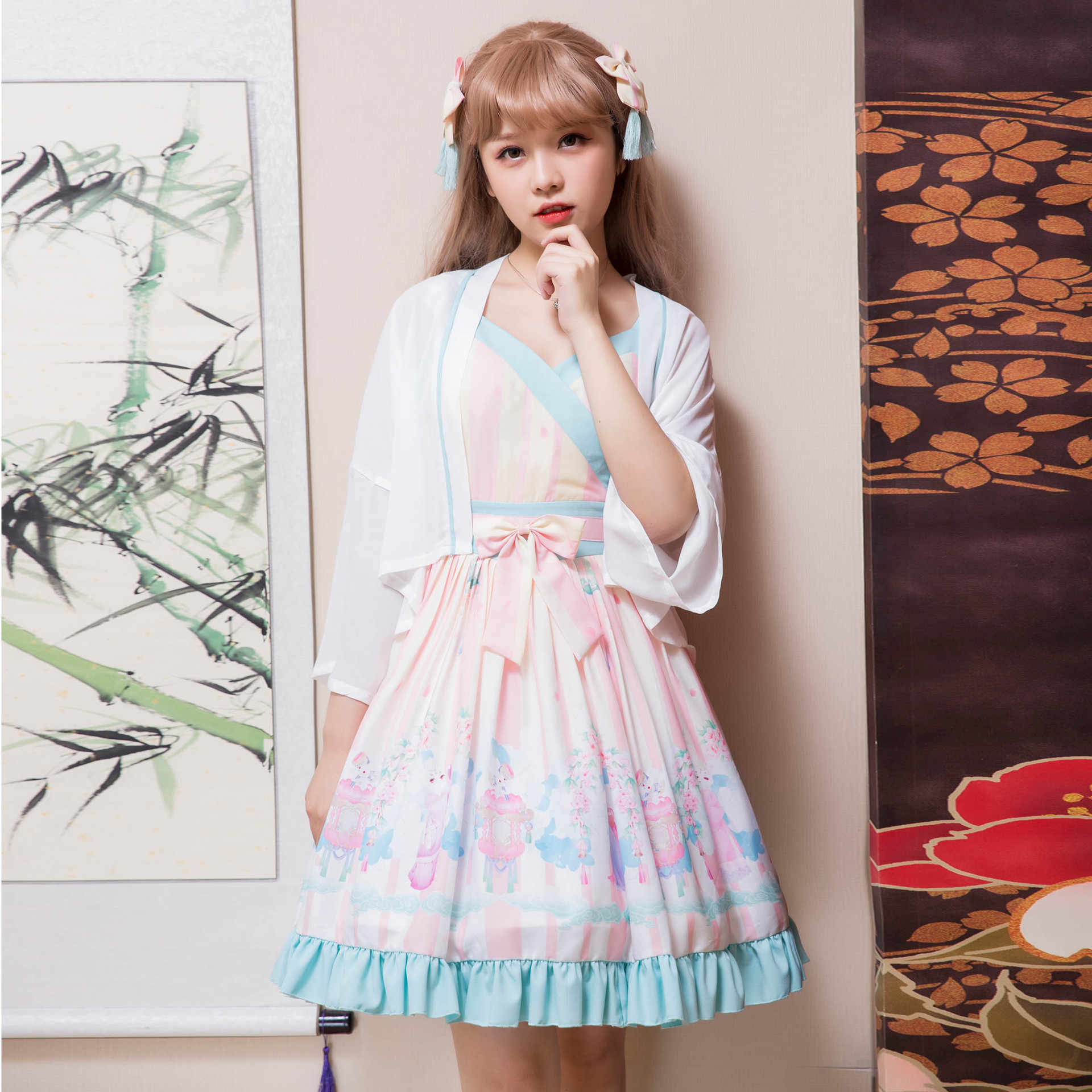 48a87b6be ... Women's Ancient Chinese Qi Lolita Dress Han Dynasty Printed Hanfu  Dresses ...