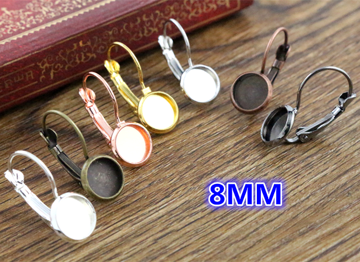 Earring Bezels Cabochons-Buttons Glass French-Lever Blank/base-Fit 8-Colors-Plated 8mm