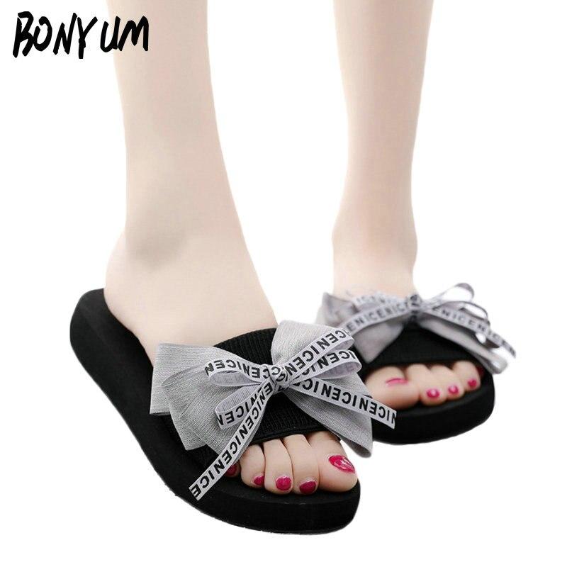BONYUM New Summer Sandals Women Handmade Bow Slippers Casual Home Slippers Bohemia Beach Shoes Flat Flip Flops Slides T5426