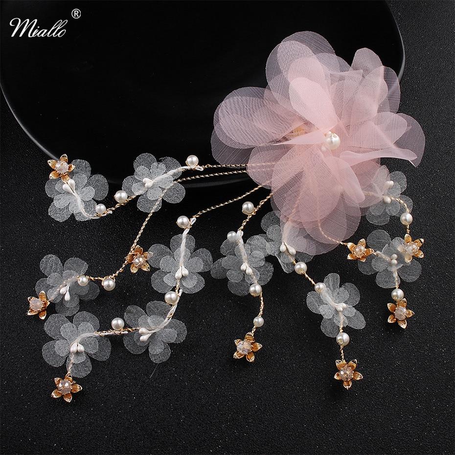 miallo pink cloth flower vine pearls crystal barrettes women