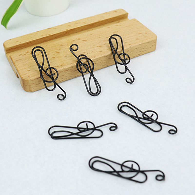 TUTU 9PCS/LOT Musical Notation Paper Clips Pin Metal Clip Bookmarks Storage Office Accessories Cute Bow Paper Clips H0040