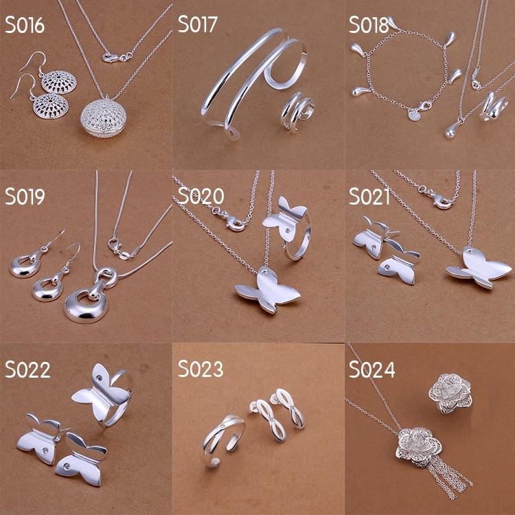 07c5e0f56de6 Venta al por mayor 925 la joyería de plata sets para la boda aretes collar  pulsera joyería de los anillos set 24 set lot en Sistemas de la joyería de  ...