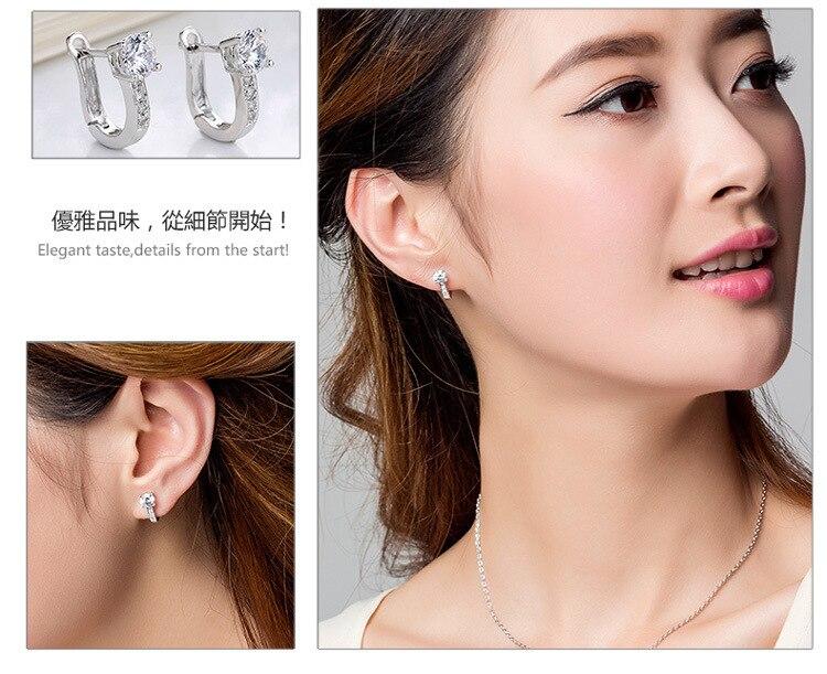 d2137c96883c6 US $3.69 |Star style Ear Buckle Crystal Earrings Korean Unique U Shape Hoop  Earrings 925 Silver Jewelry For Women SK115-in Hoop Earrings from Jewelry  ...