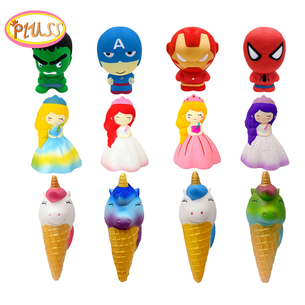 New Cute Super Hero Squishy Spiderman Iron Man Hulk Slow Rising Soft Squeeze Toy Bread Scented Stress Relief For Kid Fun Gift